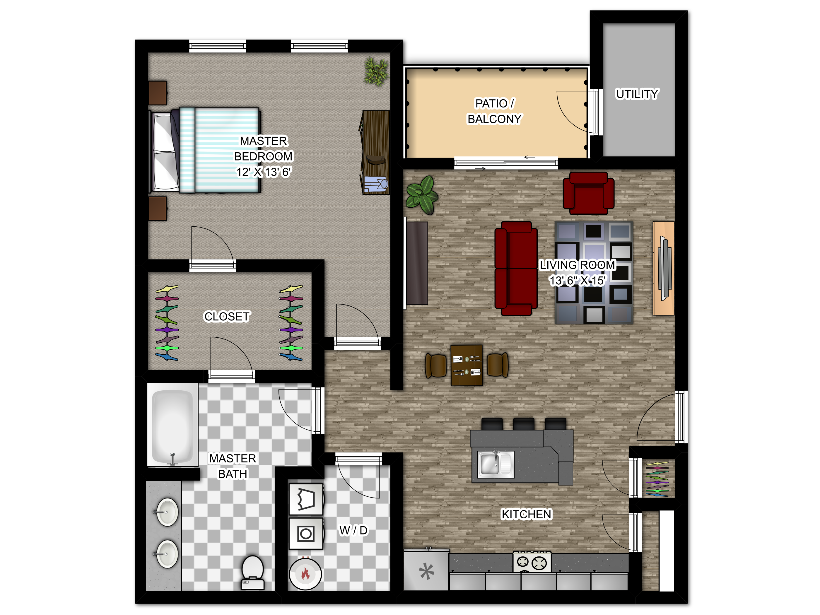 Meadowood Apartments Floor Plans - The Napa