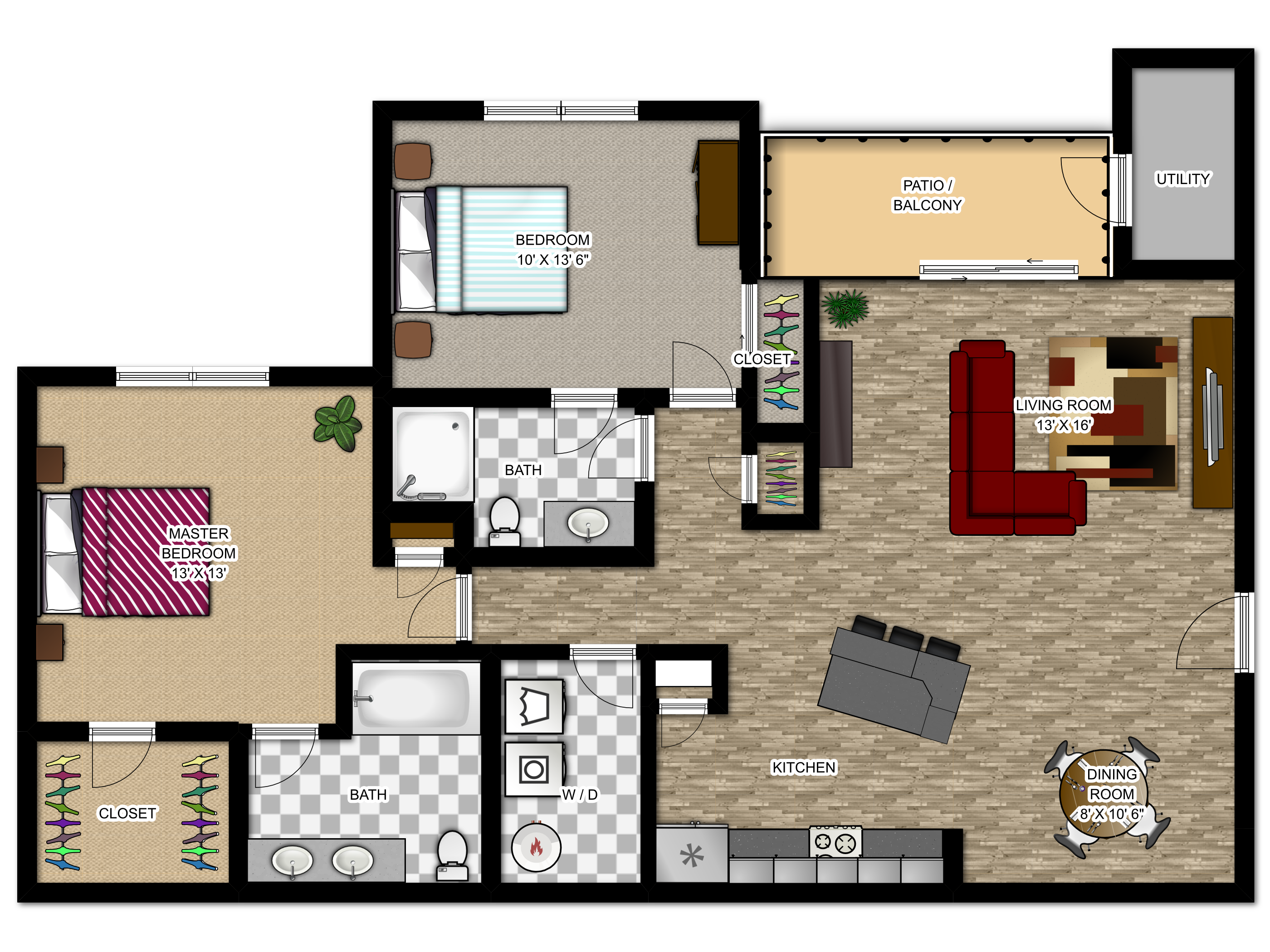 Meadowood Apartments Floor Plans - The Sonoma